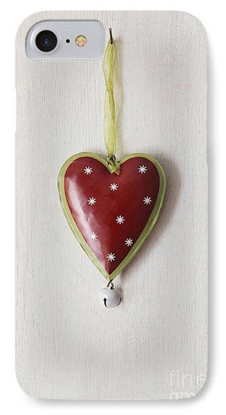 IPhone Case featuring the photograph Tin Heart Hanging On Wood by Sandra Cunningham