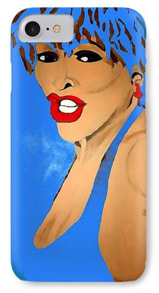 Tina Turner Fierce Blue 2 IPhone Case by Saundra Myles
