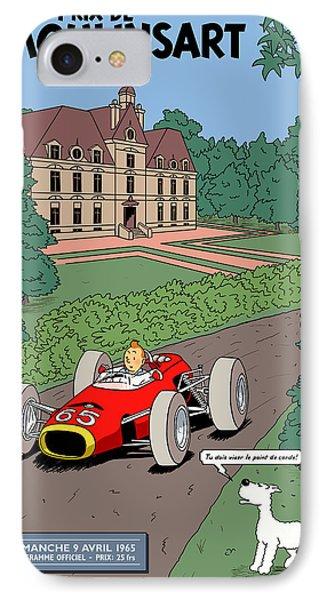 Tintin Grand Prix De Moulinsart 1965  IPhone Case by Georgia Fowler