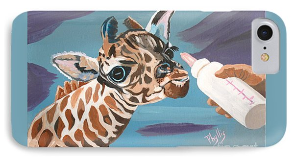 Tiny Baby Giraffe With Bottle IPhone Case by Phyllis Kaltenbach