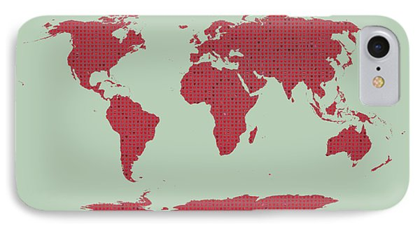 Tiny Red Hearts World Map IPhone Case