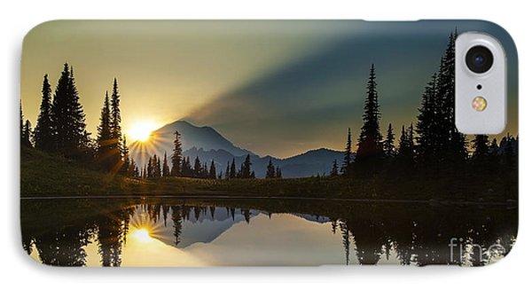 Tipsoo Rainier Sunstar IPhone Case by Mike Reid