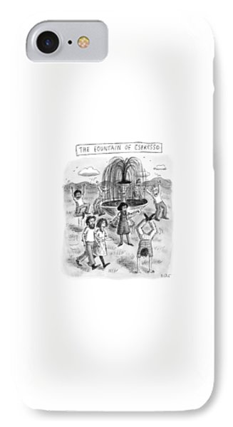 Title: The Fountain Of Espresso IPhone Case by Roz Chast