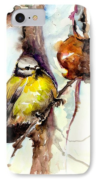 Titmouse Eating The Apple - Original Watercolor IPhone Case