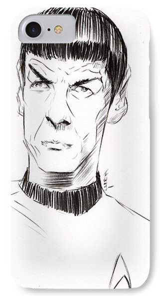 IPhone Case featuring the drawing To Boldly Go...... by Tu-Kwon Thomas