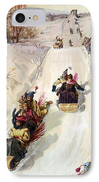 Tobogganing 1886 Phone Case by HY Sandham