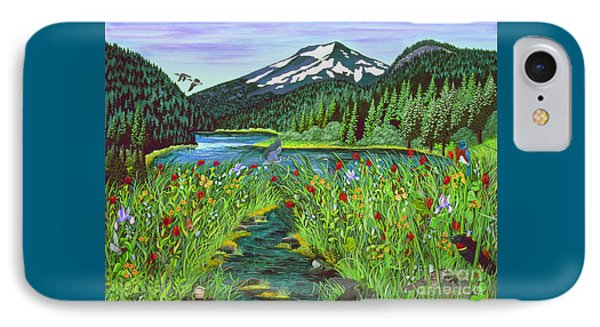 IPhone Case featuring the painting Todd Lake Mt. Bachelor by Jennifer Lake