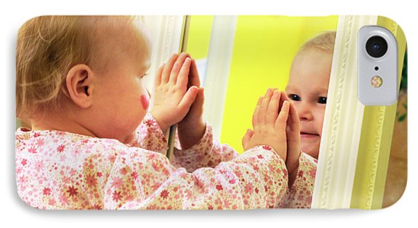 Toddler Interacting With A Mirror IPhone Case by Thierry Berrod, Mona Lisa Production