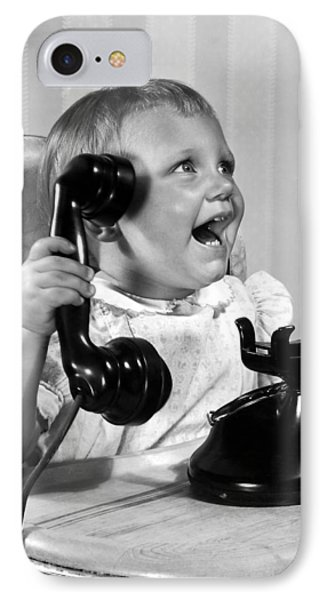Toddler With Telephone Phone Case by Underwood Archives