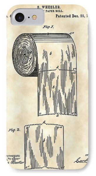 Toilet Paper Roll Patent 1891 - Vintage IPhone Case by Stephen Younts