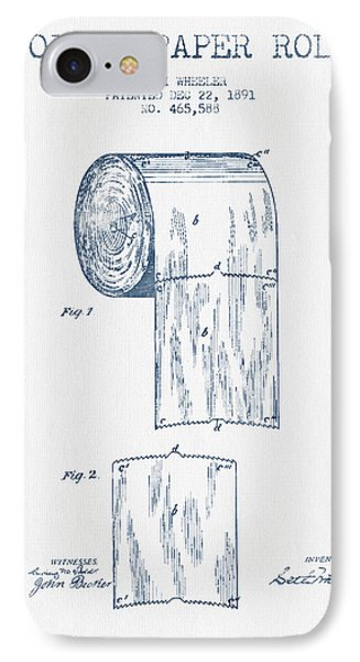 Toilet Paper Roll Patent Drawing From 1891 Blue Ink