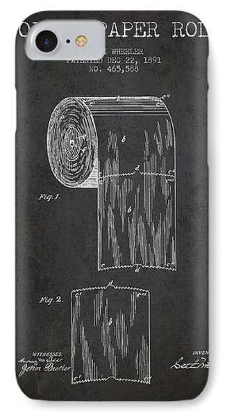 Toilet Paper Roll Patent Drawing From 1891 - Dark IPhone Case by Aged Pixel