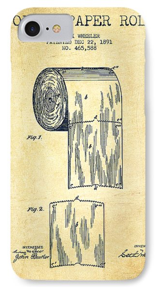 Toilet Paper Roll Patent Drawing From 1891 - Vintage IPhone Case