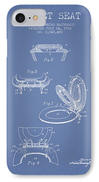 Toilet Seat Patent From 1936 - Light Blue IPhone Case