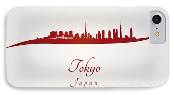 Tokyo Skyline In Red IPhone 7 Case by Pablo Romero
