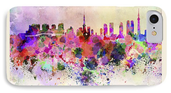Tokyo Skyline In Watercolor Background IPhone 7 Case