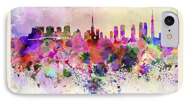 Tokyo Skyline In Watercolor Background IPhone 7 Case