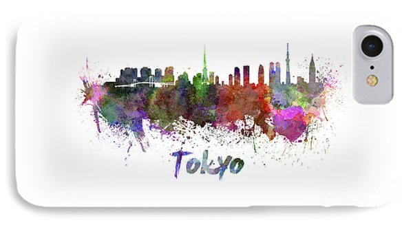 Tokyo Skyline In Watercolor IPhone Case by Pablo Romero