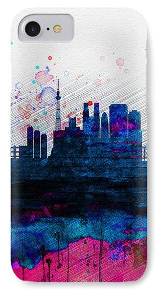 Tokyo Watercolor Skyline 2 IPhone 7 Case by Naxart Studio