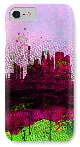 Tokyo Watercolor Skyline IPhone 7 Case by Naxart Studio