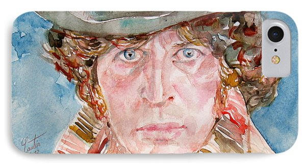 Tom Baker Doctor Who Watercolor Portrait IPhone Case by Fabrizio Cassetta