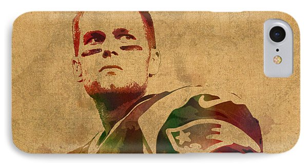 Tom Brady New England Patriots Quarterback Watercolor Portrait On Distressed Worn Canvas IPhone Case by Design Turnpike