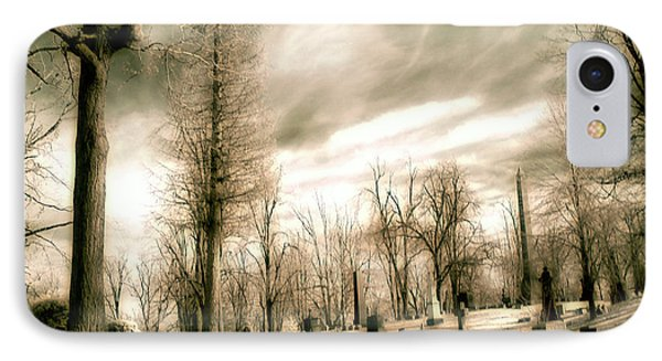 Toned Infrared Graveyard  IPhone Case by Gothicrow Images