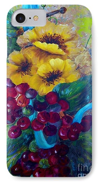 Too Delicate For Words - Yellow Flowers And Red Grapes Phone Case by Eloise Schneider