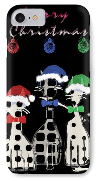 IPhone Case featuring the digital art Toon Cats Christmas by Arline Wagner