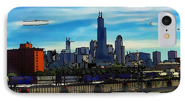 Toon Chicago From The Train Yards IPhone Case by Chris Flees