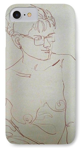 Topless Gal Wearing  Glasses IPhone Case by Joan  Jones