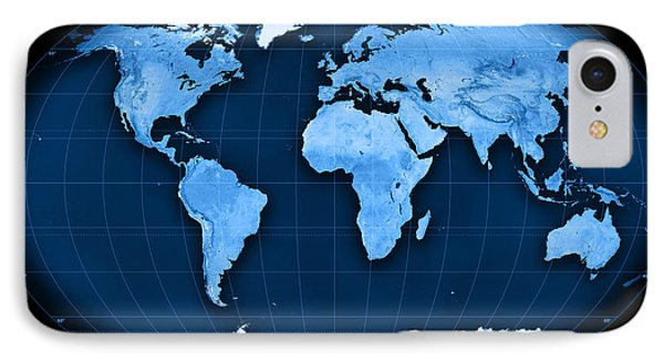 Topographic World Map Kavraisky Vii Projection IPhone Case by Frank Ramspott