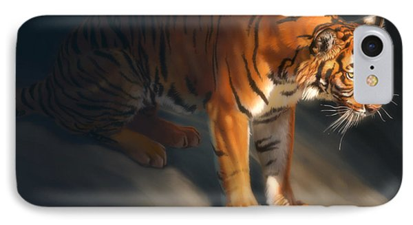 IPhone Case featuring the digital art Torch Tiger 1 by Aaron Blaise