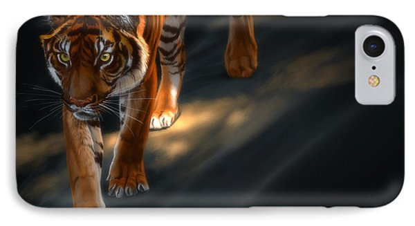 IPhone Case featuring the digital art Torch Tiger 2 by Aaron Blaise