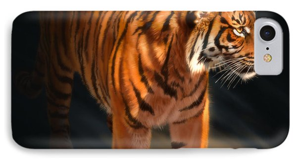 IPhone Case featuring the digital art Torch Tiger 4 by Aaron Blaise