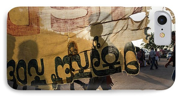 Torn Cloth Banner And Street Scene IPhone Case by David H. Wells