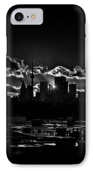 IPhone Case featuring the photograph Toronto Canada Skyline At Sunset From The Pape St Bridge by Brian Carson