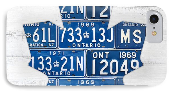 Toronto Maple Leafs Hockey Team Retro Logo Vintage Recycled Ontario Canada License Plate Art IPhone Case by Design Turnpike