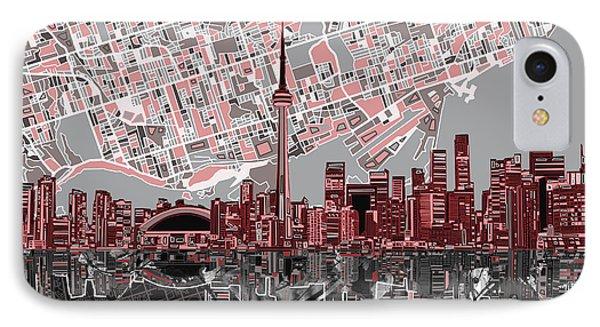 Toronto Skyline Abstract 5 IPhone Case by Bekim Art