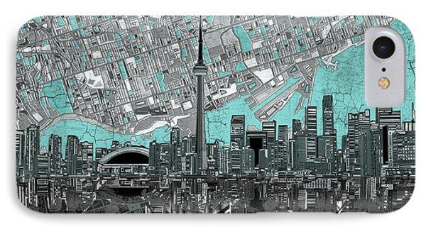 Toronto Skyline Abstract 6 IPhone Case by Bekim Art