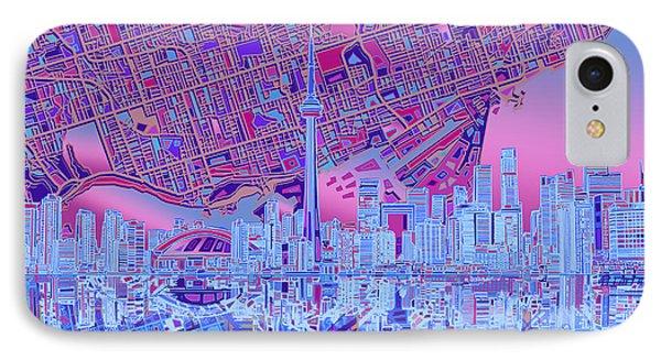 Toronto Skyline Abstract 8 IPhone Case by Bekim Art