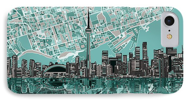 Toronto Skyline Abstract IPhone Case by Bekim Art