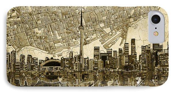 Toronto Skyline Abstract Vintage IPhone Case by Bekim Art