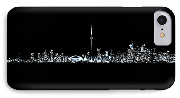 IPhone Case featuring the photograph Toronto Skyline At Night From Centre Island Monochrome by Brian Carson
