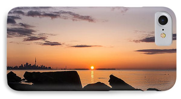 Toronto Skyline Panorama At Sunrise Phone Case by Georgia Mizuleva