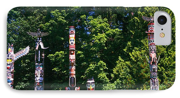 Totem Poles In A A Park, Stanley Park IPhone Case by Panoramic Images
