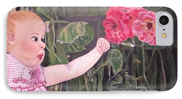 IPhone Case featuring the painting Touched By The Roses Painting by Kimberlee Baxter