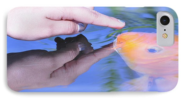 IPhone Case featuring the photograph Touching The Koi by Debby Pueschel