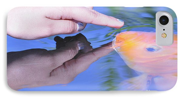 Touching The Koi.  IPhone Case by Debby Pueschel