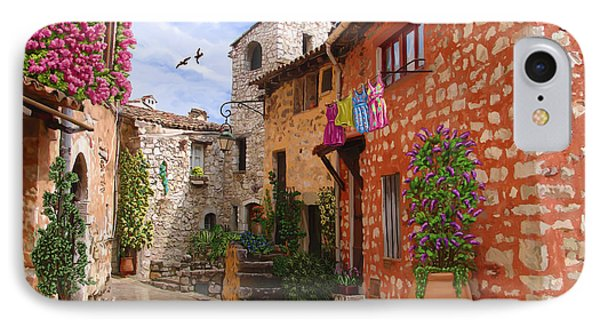 IPhone Case featuring the painting Tourettes Sur Loup France by Tim Gilliland